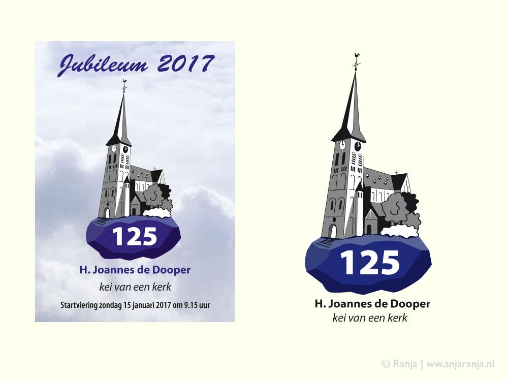 Logo en flyer voor jubileum kerk