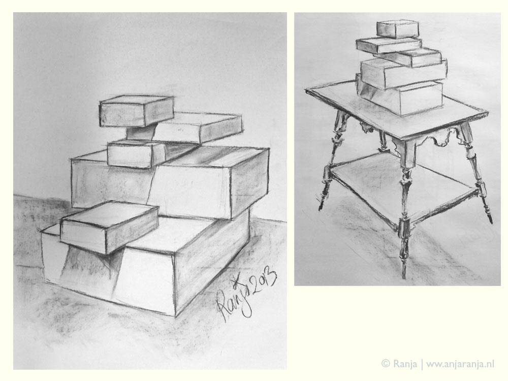 Houtskool tekening tafel met doosjes