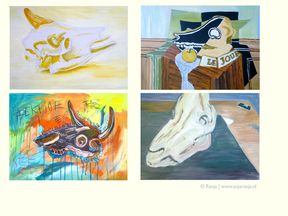 Vier maal studie naar schilder